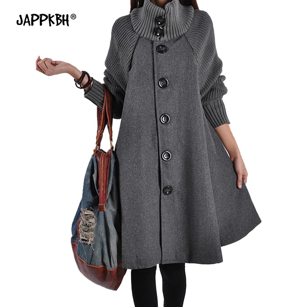Autumn Winter Coat Women 2019 Casual Vintage Patchwork Cloak Plus Size Coats Female Elegant Warm Black Long Coat casaco feminino 8