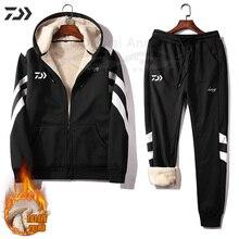Daiwa с капюшоном Рыболовные костюмы рыболовная куртка зимняя полосатая теплая утолщенная Мужская брюки рыболовная одежда плюшевая одежда спортивная одежда