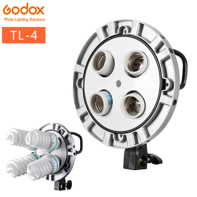Foto Studio Godox TL 4 4in1 E27 Socket Tricolor Lamp Licht Lamp Hoofd Continu licht Voor Bowen Mount Multi Houder fotografie