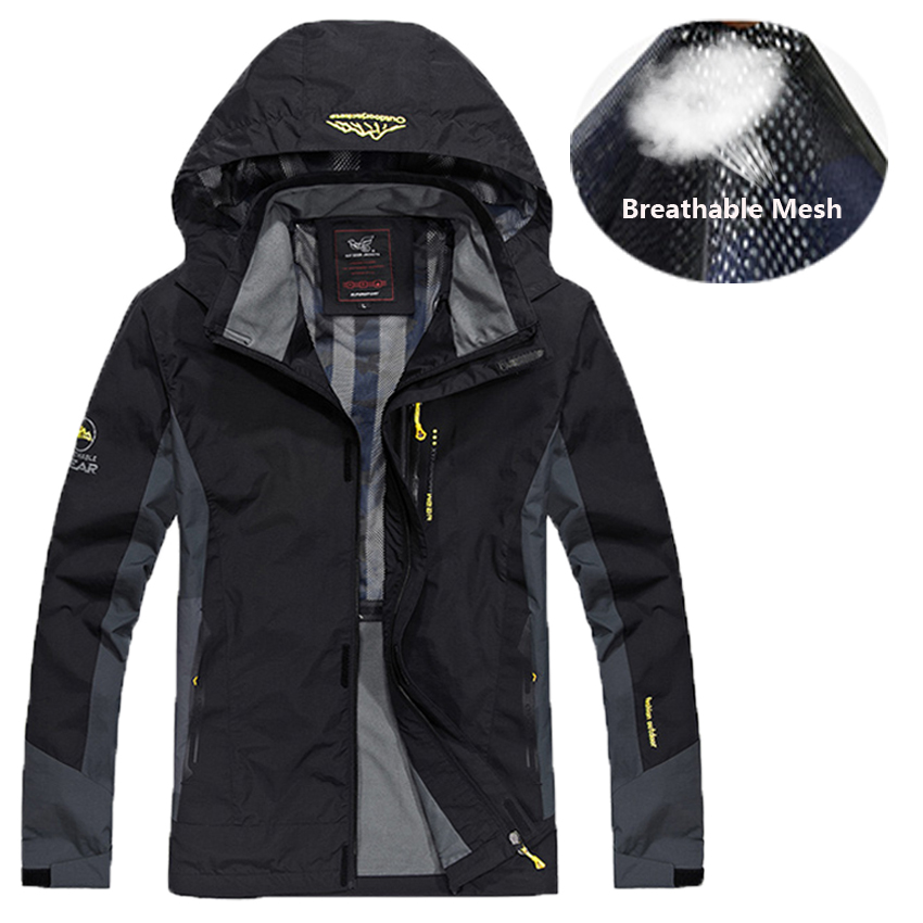Mens Windbreaker Jackets Plus Size <font><b>7XL</b></font> 8XL Mesh Liner Waterproof Jacket Men Tourism Bomber Jacket Male Raincoat <font><b>Coat</b></font> Outwear image
