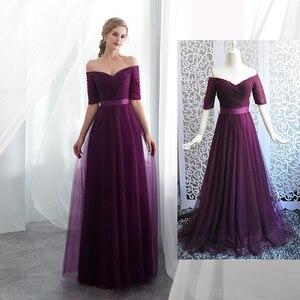 Image 3 - Vestidos Elegantes para dama de honor, color morado, de tul satinado, azul real, Media manga, fiesta de boda, vestidos de graduación togas, 2020