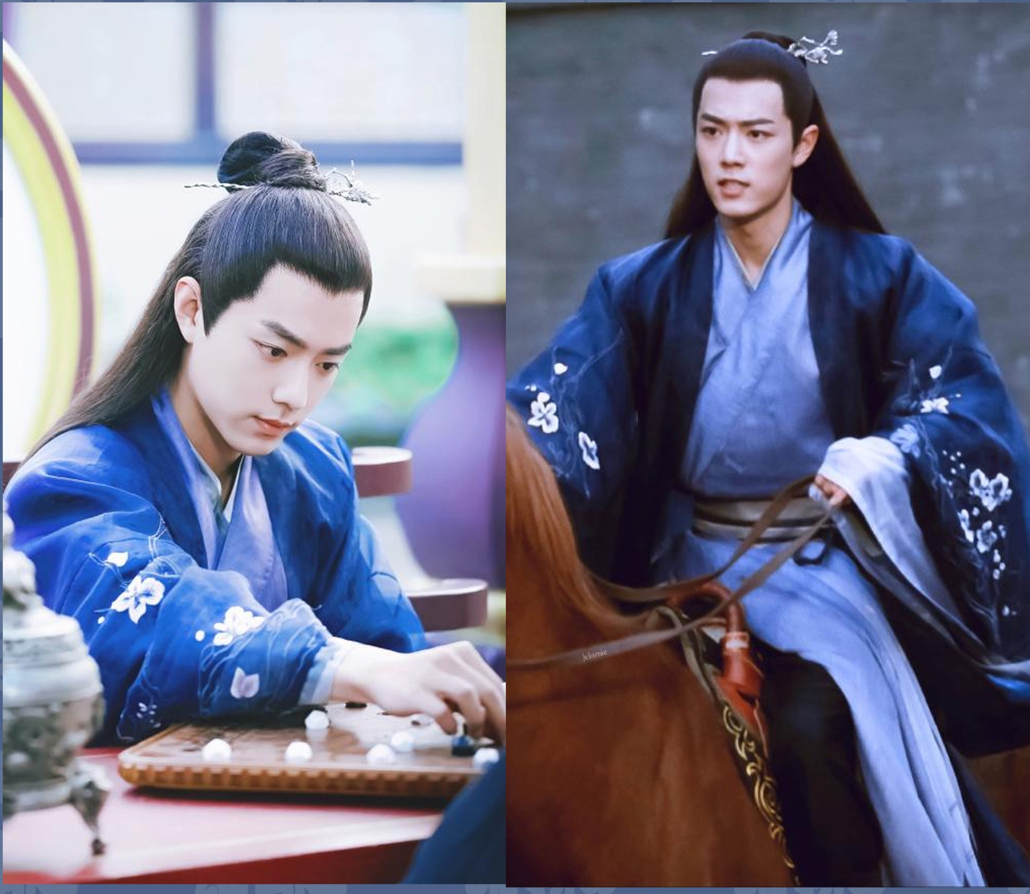 Beitang Mo Ran Blue Embroidery Plum Blossom Male Costume Hanfu For TV Play My Emperer Actor Xiao Zhan Same Design Cosplay Hanfu