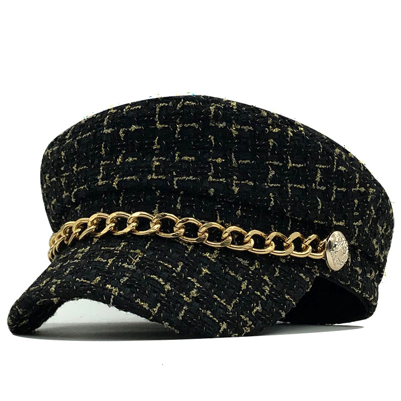 2021 New women hats Tweed plaid newsboy caps chain flat top visor cap vintage plaid military cap female autumn winter hats