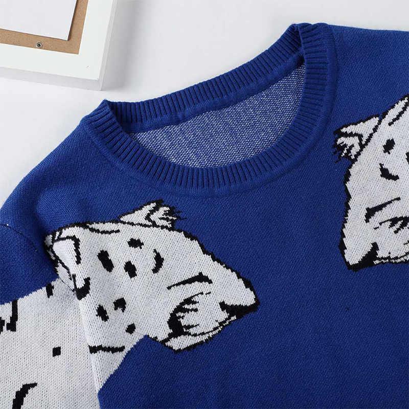 Leopard Pola Wanita Rajut Sweater O Leher Lengan Panjang Wanita Pullovers 2020 Musim Semi Musim Gugur Fashion Wanita Atasan