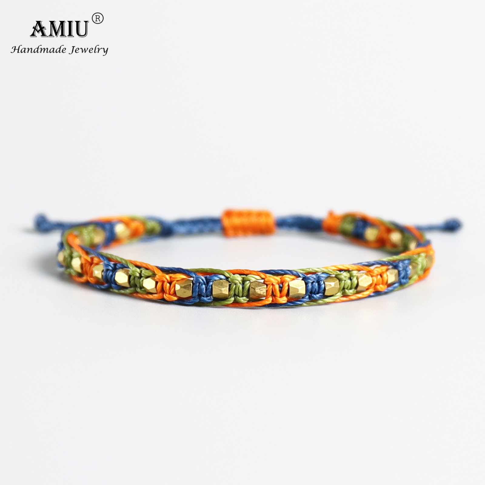 AMIU Handmade Waterproof Wax Thread Copper Bead Lucky Rope Bracelet & Bangles For Women Men Friendship Woven Macrame Bracelets