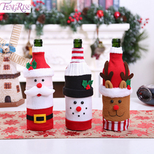 FENGRISE Christmas Decorations Santa Claus Wine Bottle Cover Snowman Stocking Gifts Holders Xmas Navidad Decor New Years 2020