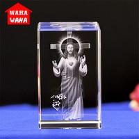 Jesus K9 Kristall Laser 3D Interne Statue Skulptur Inter-gravur Figuren Miniaturen Kristall Religiöse Kunst Handwerk Wohnkultur