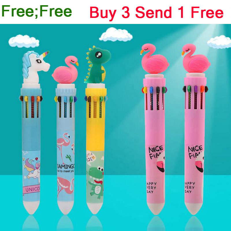 Free Shipping Cute Animal 10 Colors Student Writing Ballpoint Pen Free Send Cute Dinosaur School Stationery Buy 3 Send Gift image