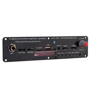 Image 1 - Mini módulo home áudio bluetooth amplificador tf uso amplo 3.7v 20w suporte fm mp3 microfone karaoke wav ape flac usb reverberação