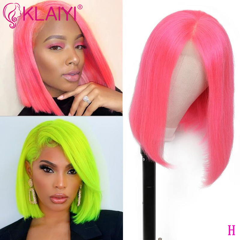 Klaiyi Hair Straight Pink Green Yellow Bob Wig Human Hair Wigs 8 14 Inch Pre Plucked Remy Hair 13 4 Inch Lace Front 150 Density Human Hair Lace Wigs Hair Extensions Wigs Aliexpress