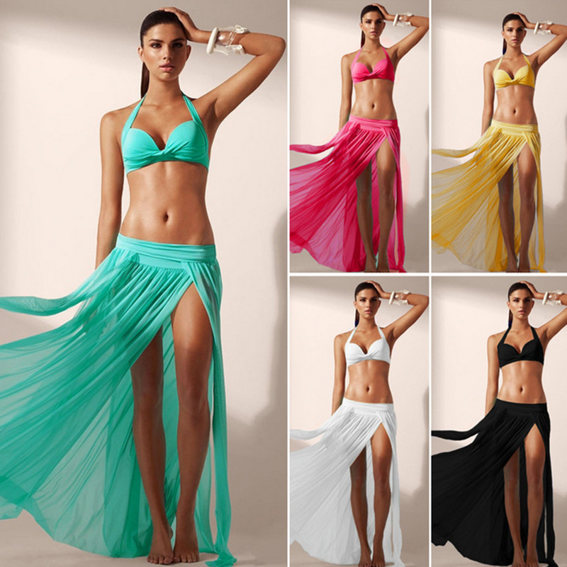 Hot Selling Stretch Mesh Skirt Beach Skirt Sexy Slit Holiday Dress Bikini Outer Blouse
