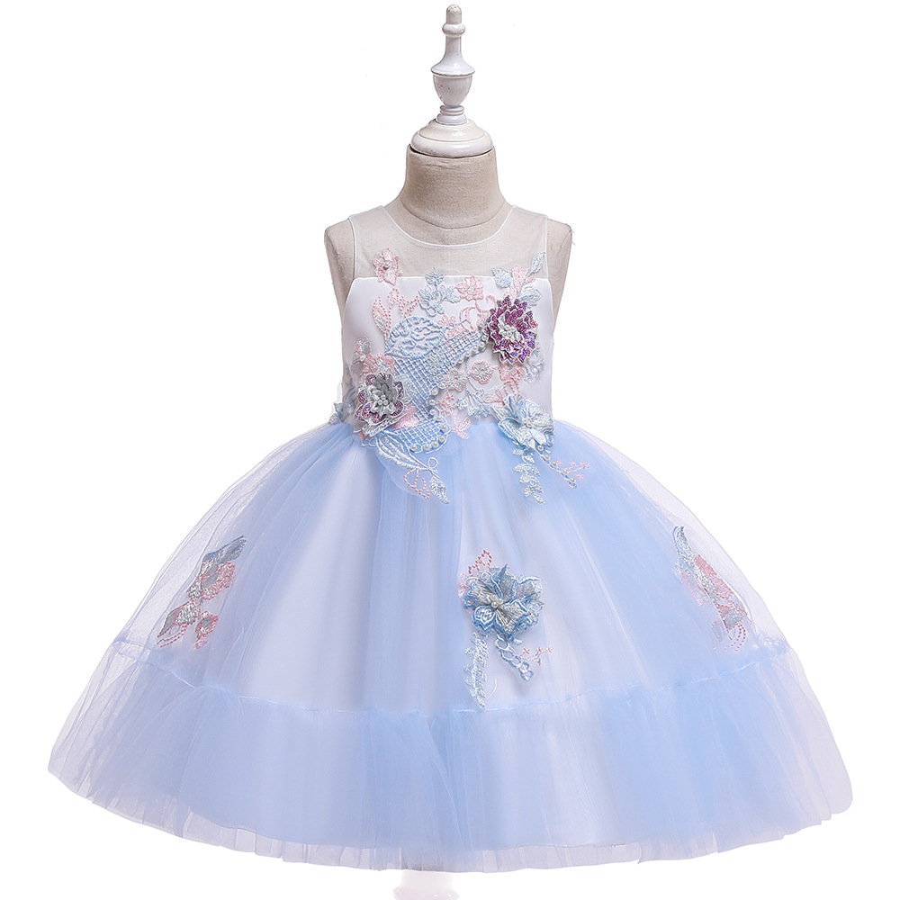 2019 New Style CHILDREN'S Dress Princess Dress Flower Stickers Gauze Puffy Lou Kong Qun Dresses Of Bride Fellow Kids Performance