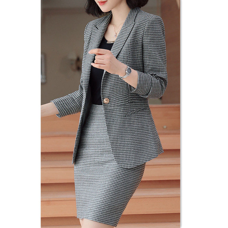 Ladies Suit Manager High-Grade Plaid Full Sleeve Linen Jacekt+Skirt 2 Piece Skirt and Suit Formal Office Clothes Skirt Suit 360