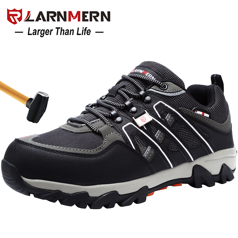 LARNMERN Men s Steel Toe Work Safety Shoes Breathable Anti smashing Anti puncture Non slip Construction