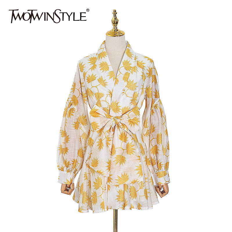 TWOTWINSTYLE Print Hit Color Bowknot  Women's Dress V Neck Lantern Long Sleeve High Waist Dresses Female 2020 Spring Fashion New