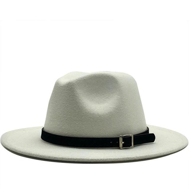 Nuevo Sombrero panamá de fieltro de lana de ala ancha con hebilla de cinturón