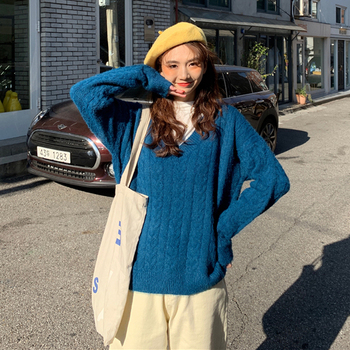 Ailegogo Knitted Women Sweater Autumn Winter Casual Female V-neck Knit Pullovers Solid Color Loose Fit Ladies Knitwear Tops 5