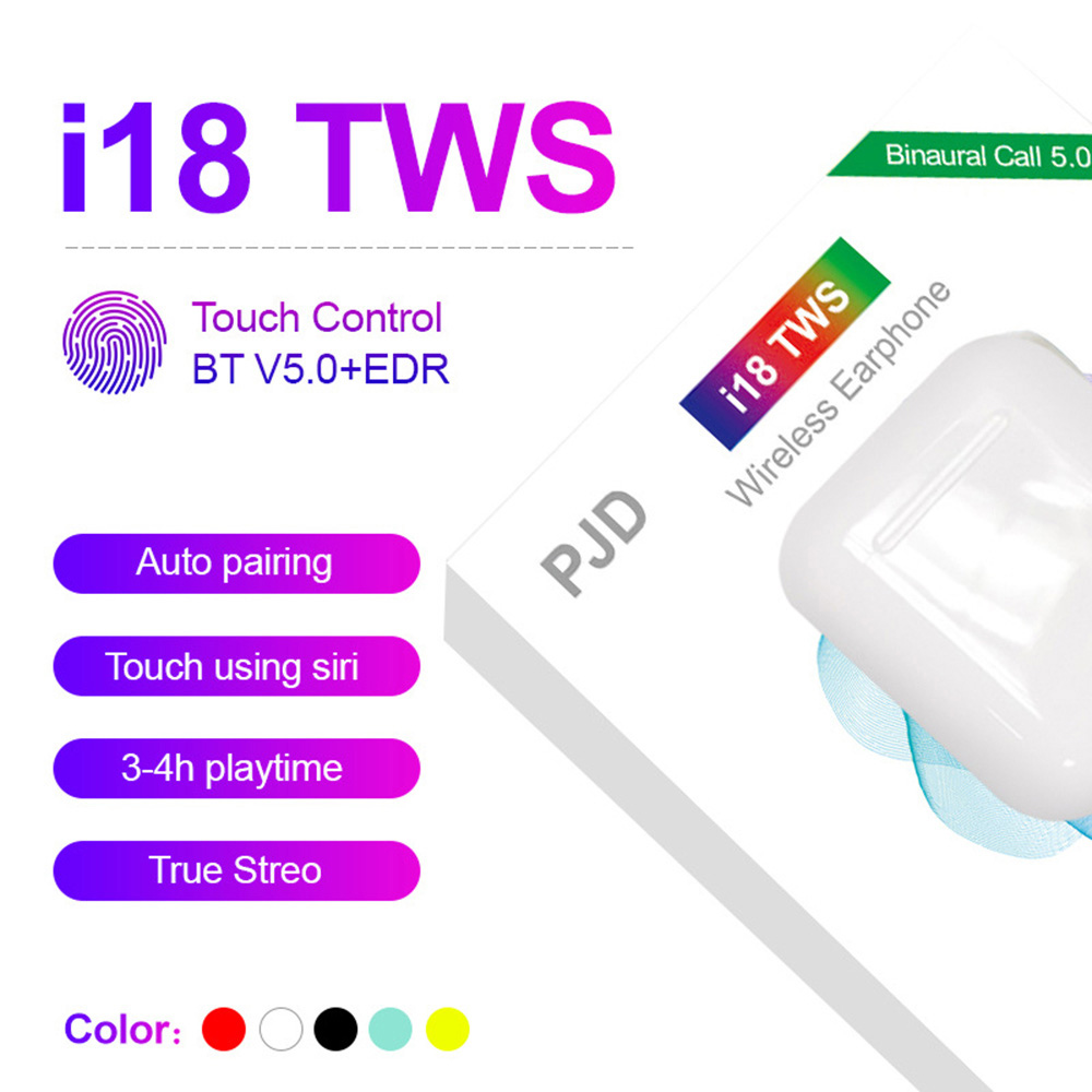Оригинальные i18 TWS беспроводные наушники Bluetooth гарнитуры наушники Сенсорное управление для всех смартфонов PK i10 i11 i12 i13 i14 i20 TWS