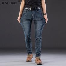 HENCHIRY новые мужские джинсы стрейч свободного покроя джинсовые Лето Осень бренд одежда мужской длинные брюки большой размер QC866