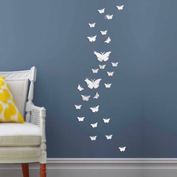 12pcs/set Silver 3D Mirrors Butterfly Wall Stickers Decal Wall Art Removable Room Party title=