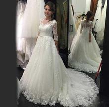 2021 Половина рукава элегантное кружевное платье для свадьбы;
