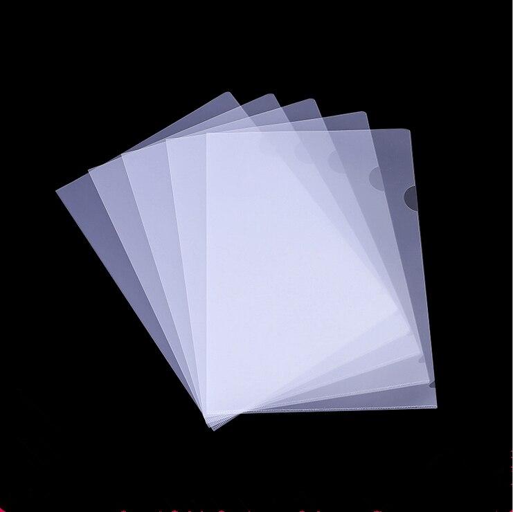10PCS  14CA4 Folder L-shaped Single-chip File Protective Cover Transparent Two-page Bag