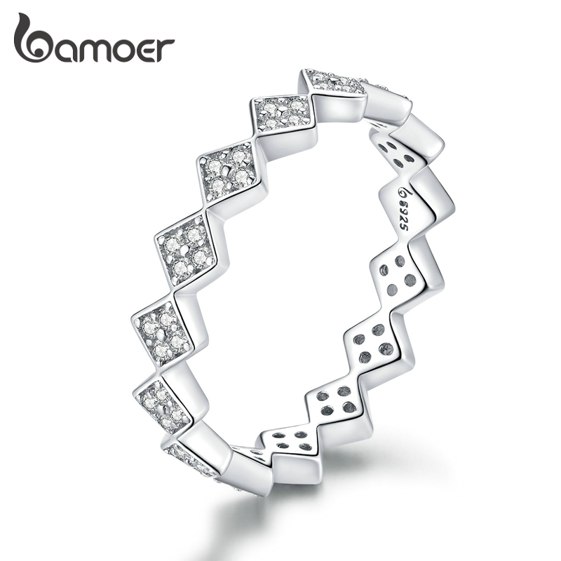 Bamoer Authentic 925 Sterling Silver Dazzling Geometric Simple Stackable Finger Rings For Women Statement Jewelry Anel BSR110
