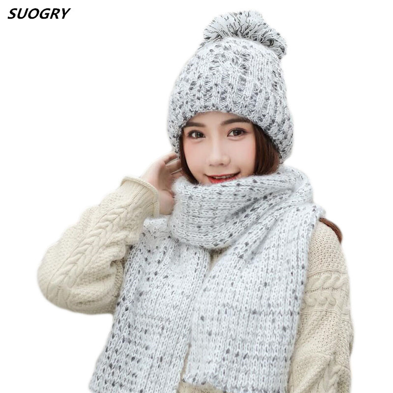 SUOGRY Women Winter Hat And Scarf Set Fashion Cashmere High Quality Pompom Fur Hat Female Cashmere Warm Hat Knitted Scarves