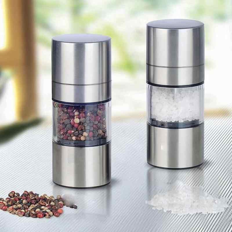 بسيطة دليل الفولاذ المقاوم للصدأ البلاستيك الخشنة الملح الفلفل مطحنة حجم قابل للتعديل التوابل مولر طحن أدوات المطبخ