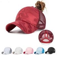 El 2020 de las mujeres de cola de caballo de gorra de béisbol de las mujeres gorra de malla de verano sombrero de moda femenina gorros de HIp Hop Casual ajustable al aire libre hueso