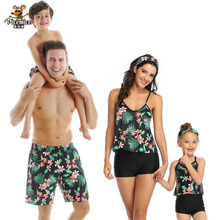 Family Swimwear Mother Daughter Matching Women Kid One Piece Palm Tree Swimsuit Men Boys Print Short Pants Bathing Suit plus palm print bardot swimsuit