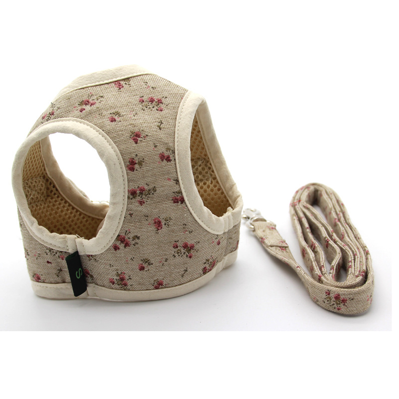Ambaby Cute Adorable Fancy Floral-Print Rear Buckle Chest And Back + Traction Sling Dog High Quality Fashion Hand Holding Rope