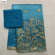 African George Fabric High Quality Indian Raw Silk George Wrappers Hotest Set With Blouse For Wedding 7yards/pcs ZL27-10