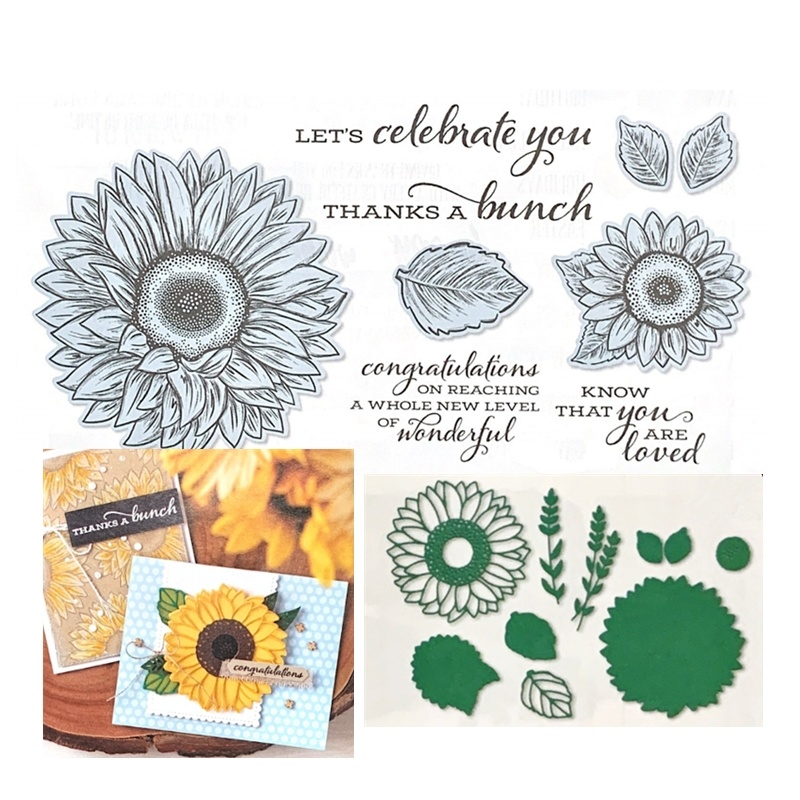 2020 New Metal Cutting Dies And Scrapbooking For Paper Making Sunflower Embossing Frame Card Craft With Transparent Stamps Set