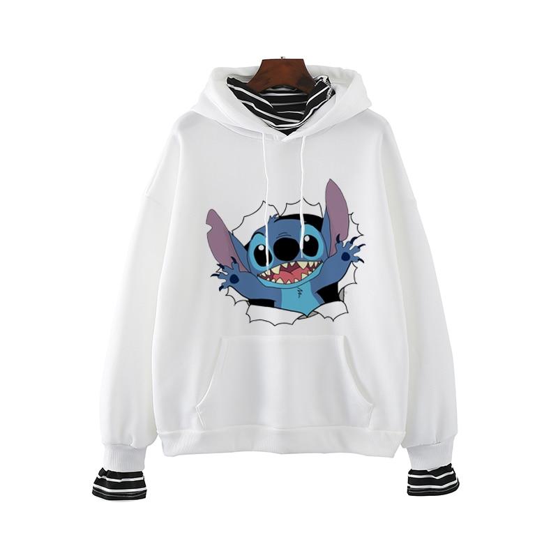 Lilo Stitch Kawaii Plus Size Women Oversized Hoodie Pink Clothing Streetwear Crop Hoodies Sweatshirts Harajuku Anime O-Neck