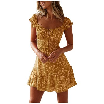 Women Clothing Summer Sexy Print Casual Dress Mini Dresses For Women Autumn Beach Casual Dresses Elegant Dresses Evening Mini Party Print Dresses Sexy Short Sleeve Slim Spring U Neck Dress Women Color: Yellow Size: S