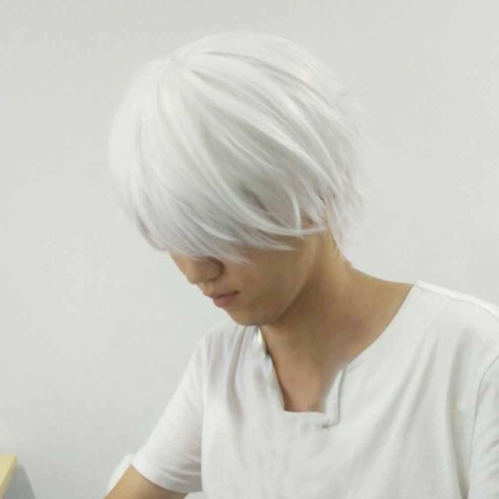 Męska biała peruka syntetyczna do cosplayingu postacie z Anime proste krótkie jedwabne włosy o wysokiej temperaturze do peruk Cosplay