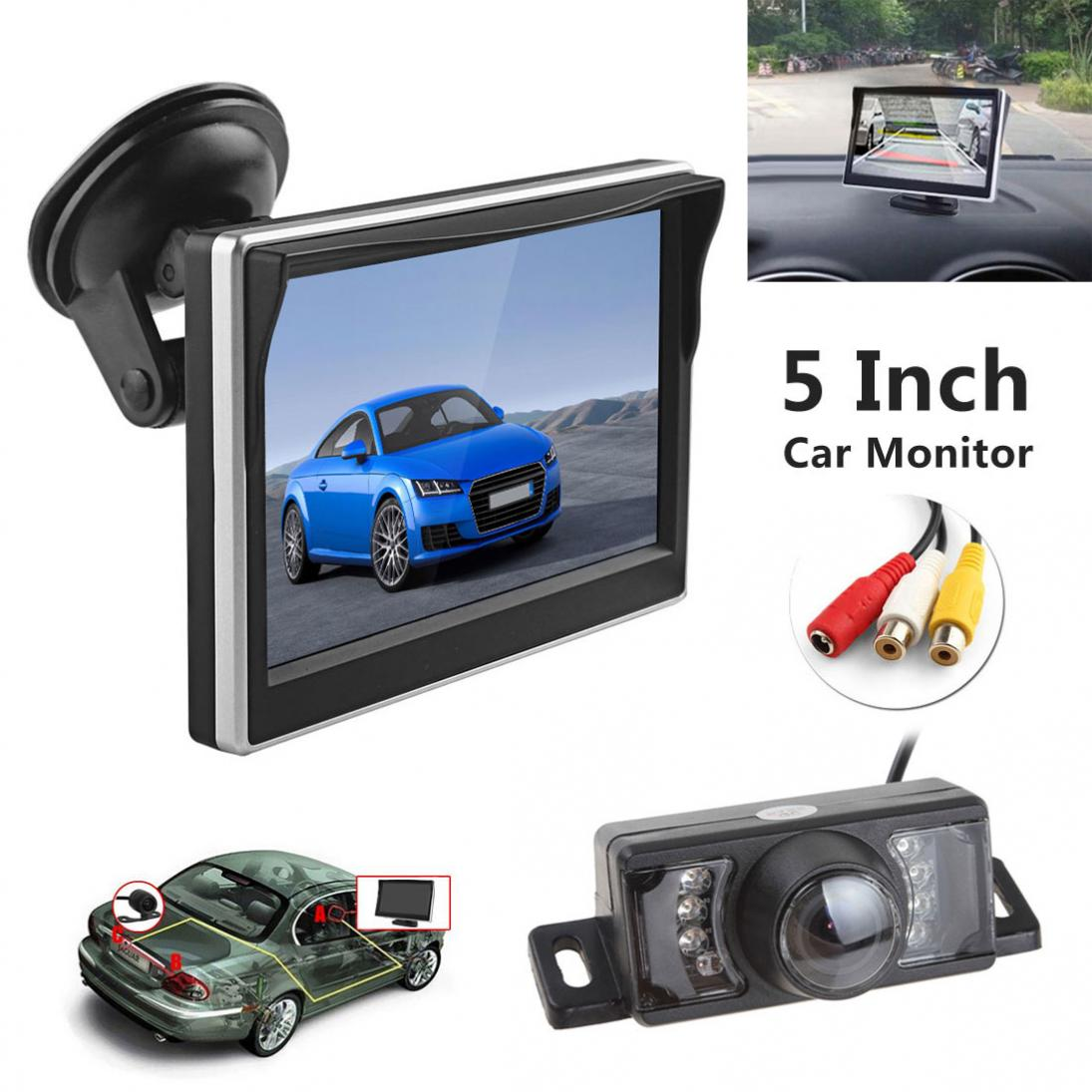 5 <font><b>Inch</b></font> TFT LCD Screen 480 x 272 HD Digital Color Car Rear View <font><b>Monitor</b></font> + <font><b>7</b></font> IR Lights Water-proof 120 Degree Car Rear Camera image