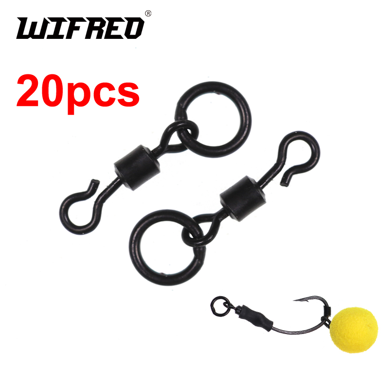 Wifreo 20pcs Size 7/ UK 11 Carp Fishing QC Ring Swivel Ronnie Rig Spring Rigs Making Terminal Tackle Hook Accessory
