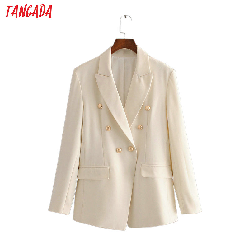 Tangada Women Solid Beige Blazer Female Long Sleeve Buttons Elegant Jacket Ladies Work Wear Formal Suits 3H501