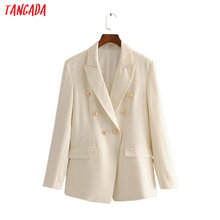 Tangada women solid beige blazer female long sleeve buttons elegant jacket ladie
