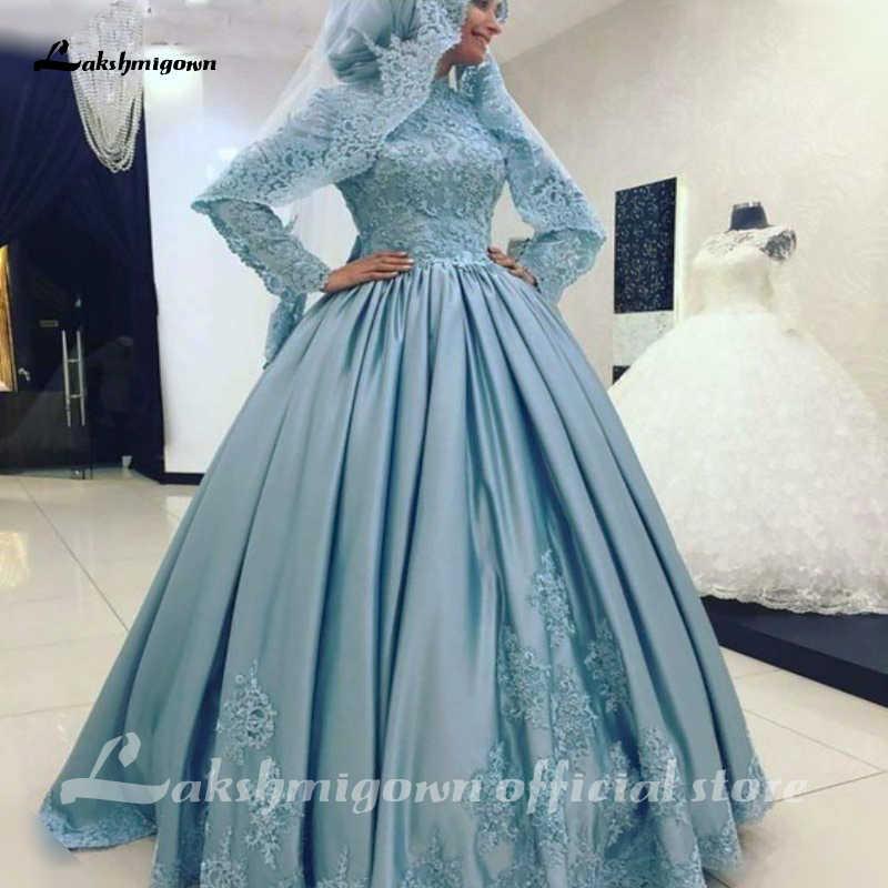 Bleu arabe col haut manches longues robe de bal robe de mariée musulmane 2020 dubaï caftan islamique Satin robes de mariée dentelle Appliques