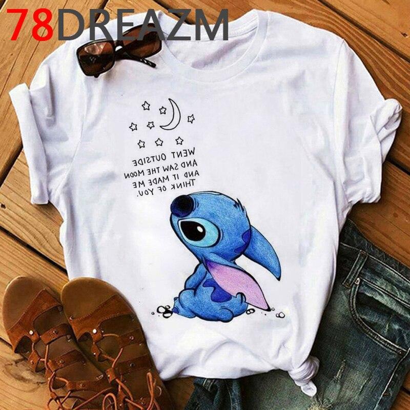 Kawaii Stitch T Shirt Women Summer Top Funny Cartoon T-shirt Ohana Stitch Cute Anime Graphic Tees Plus Size Unisex Tshirt Female