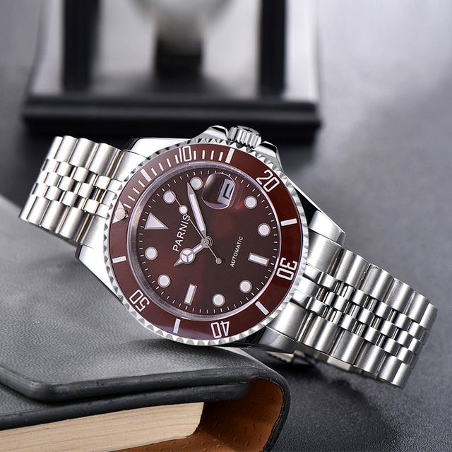 Fashion Parnis 40mm Brown Dial Automatic Mechanical Mens Watch Silver Steel Bracelet Men Watches Waterproof 2020 with box gift