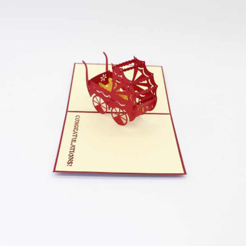 Cochecito para bebés recién nacidos postal bautizo y bautizo Baby Shower 3D creativo Pop Up tarjeta de felicitación para Souvenirs