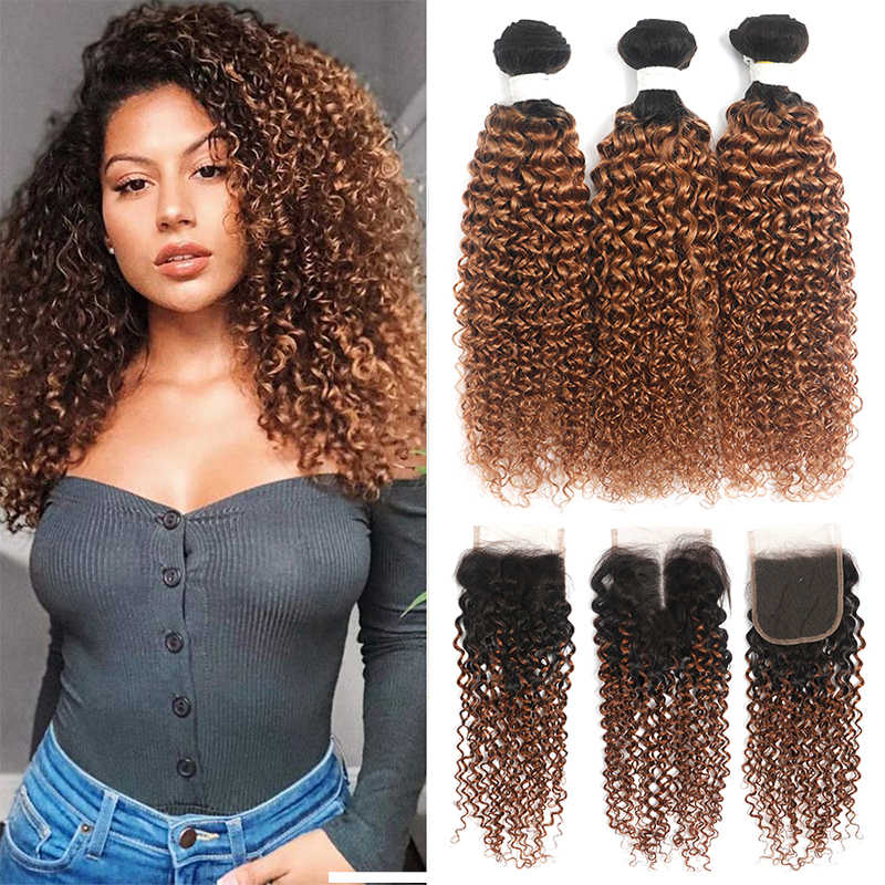 SOKU Ombre Brown Bundles With Closure T1B 30 Brazilian Kinky Curly Human Hair Weave Bundles With Closure 4x4 Non-Remy Hair Weft