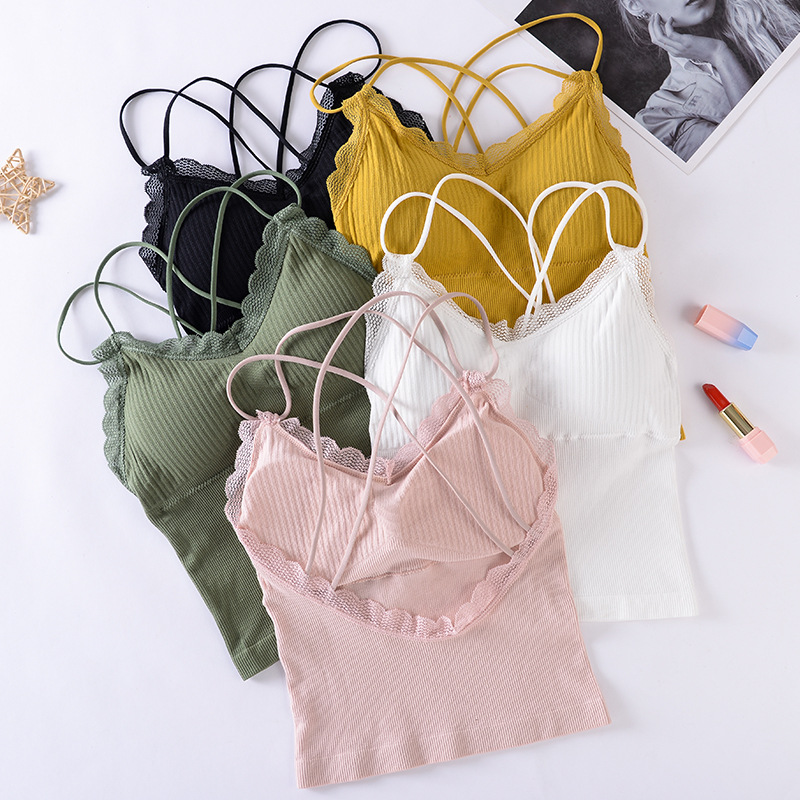 Cross Back Women Tanks Top Lace Camis Crop Top Summer Comfort  Wireless Underwear With Chest Pad Sexy Lace Top Camisole