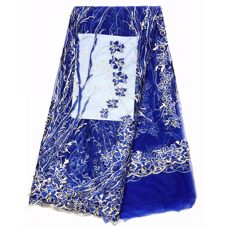 2020 African Tulle Lace Fabric Blue Embroidered High Quality French Net Tulle Lace Fabric For Women Evening Dress Robe De Soiree