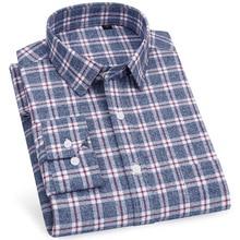Flannel Shirt Men Dress 100% Cotton Long Sleeve Casual Slim Fit Striped Plaid Streetwear Plus Size 5XL