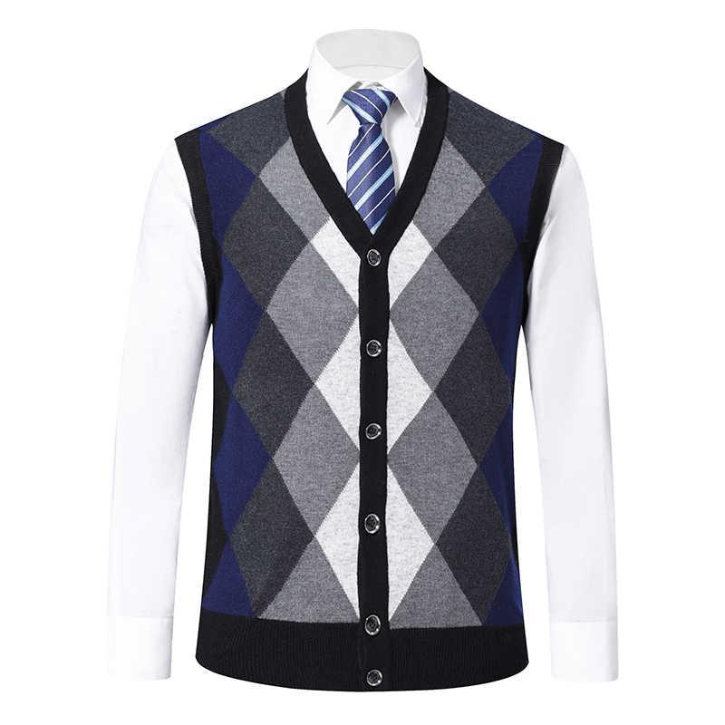 6% 울 패션 스웨터 남성 풀오버 카디건 민소매 점퍼 니트 조끼 겨울 V 넥 슬림 피트 캐주얼 의류 남성